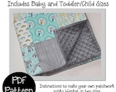 Patchwork Minky Baby Blanket PDF pattern- How to make a minky backed blanket in two sizes