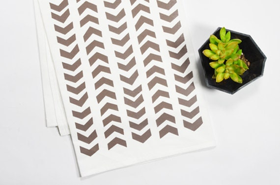 Tea Towel - Screen Printed - Taupe Arrows on White