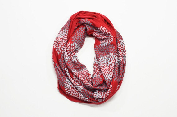 INFINITY SCARF - Screen Printed - Gray Flowers on Red