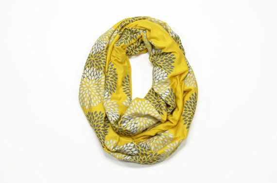 Printed Scarf - Floral Infinity Scarf - Mustard Loop Scarf - Fall Winter Scarves - Little Minnow - Screenprinted Yellow