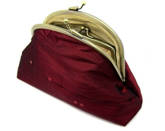 Red Silk Clutch Coin Purse Wallet Gold Silk Sparkle Cranberry Red Sequins Ruby Claret Kiss Lock Double Frame