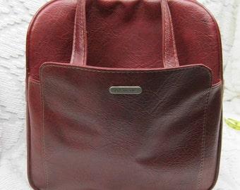 Vintage Red Samsonite Overnight Luggage Bag