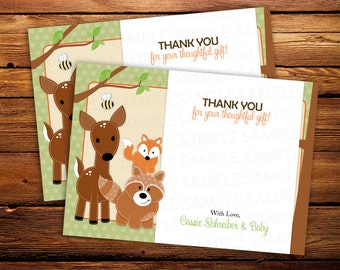 20 Woodland Forest Friends Neutral Baby Shower or Birthday Thank you Notes - ANY COLOR