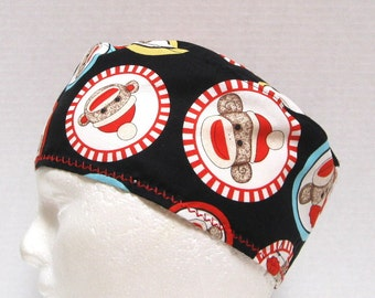 Mens Scrub Hat, Surgical Cap or Chemo Hat with Socky Monkey Faces