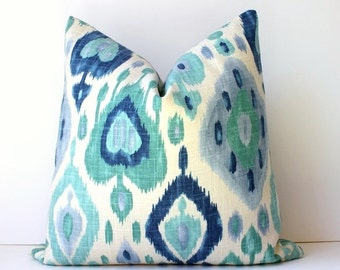 Ikat Decorative Designer Pillow Cover Accent Cushion turquoise teal indigo Blue navy emerald green modern suzani robins egg