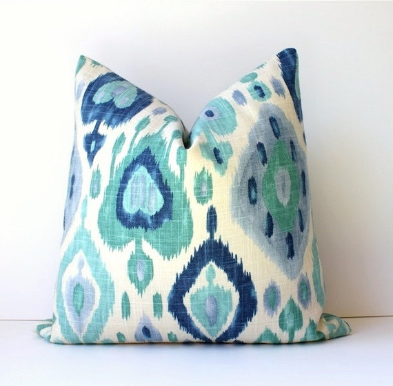 Ikat Decorative Designer Pillow Cover Accent Cushion turquoise