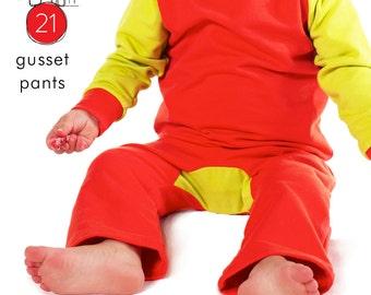 Baby pants pdf pattern, gusset bottom, photo tutorial -sizes 0M-6T  - Pattern 21