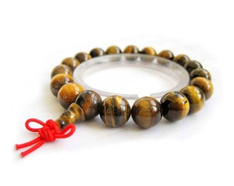10mm Genuine Tiger Eye Rosary Beaded Tibet Buddhist Prayer Beads Mala Bracelet  T0006