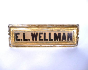 Antique Glass Nameplate