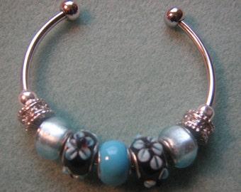 Blue Flowers Silver Bangle Bracelet