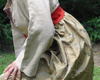 Upcycled Linen Tunic Dress/ Hand Stitched Paradigm Shift Dress in Bronze and Sand/Renaissance/Wearable Art