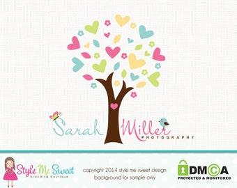 Premade Tree Logo Design - Heart Logo Bird Logo Photography Logo Design Small Business Boutique Hand Drawn Logo