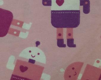 Girly Robots - FLANNEL - 1 yard