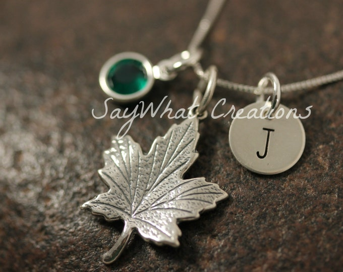 Sterling Silver Mini Initial Hand Stamped Maple Leaf Charm Necklace