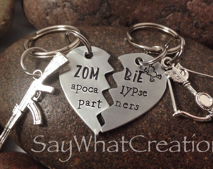 Zombie Apocalypse Partners SET OF TWO Half Heart Key Chains