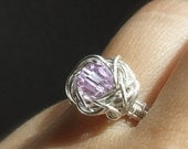Alexandrite purple engagement ring - crystallized lilac bead handmade sterling silver jewelry - MADE TO ORDER