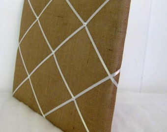 Burlap fabric and YOUR CHOICE of ribbon Memory Board, you pick size
