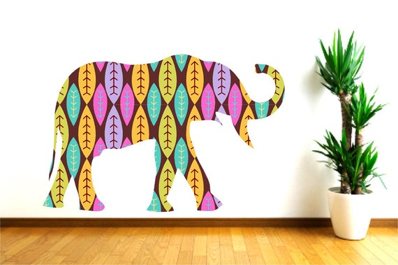 Items Similar To Animal Wall Decal Nursery Wall Decor Elephant Wall Decal Colorful Elephant