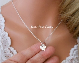 Clover Necklace Shamrock Jewelry Good Luck Charm Sterling Silver 4 Leaf Clover Graduation Gift Bridal Shower Gift