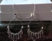 Custom Silver Shade Swarovski Crystal Wire Hoops