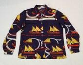 Navy Sailboat Goelette Shirt Vintage Nautical Shirt 70s Schooner Yacht Blouse Ocean Scarf Shirt Womens Sailing Ship Top Medium Ladies