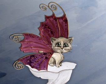 Fairy Cat art print, Frixie by Jennifer Stedman, purple and black, purple and grey, gray blue