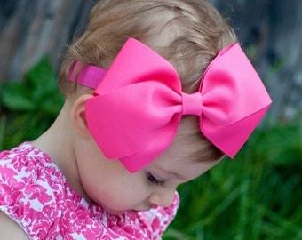 Baby Headband, XXL Kinley Headband, Bow, ANY COLOR,  Baby Bow, Headband, Hair Bow, Kinley Kate, Baby Girl, Pink Bow, 100+ Colors