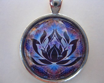 Yoga Necklace:  Lotus on Mandala Necklace (001)