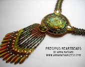 Bead Embroidery necklace green gold olive - Bead Embroidered - Made to Order