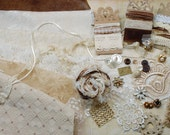 Vintage inspirations. Inspiration Kit And Embellishment Kit. Chocolate brown, cream and off white No 219b