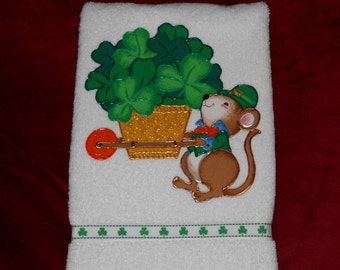 St Patricks Day Hand Towel Bathroom or Kitchen Cart Full of Shamrocks and a Mouse