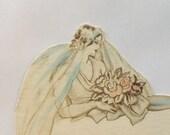 Vintage pastel bride wedding place card with bridge tally by Buzza with blue cord ephemera