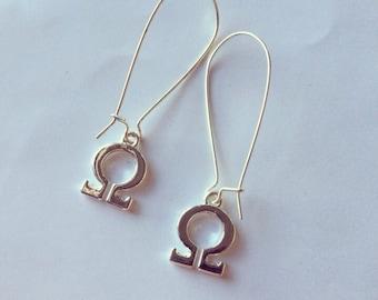 Omega Earrings, Libra Horoscope Symbol