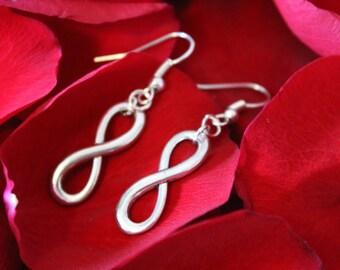 Silver infinity earrings- bridal earrings