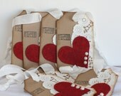 Elegant Valentine tag, Valentine tag, Heart and dollie tag, Felt heart tag, Happy Valentines Day tag, Valentines Day card