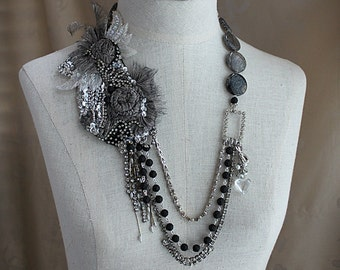 LUNA Silver Black Collage Statement Necklace