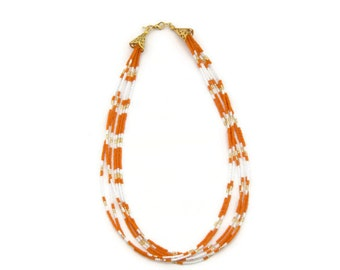 Orange necklace, multistrand necklace, orange and white, autumn necklace, statement jewelry, beaded necklace, gift ideas, tangerine