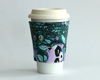 Insulated Coffee Cozy - Racoon Floral Purple Blue Turquoise - Ready to Ship