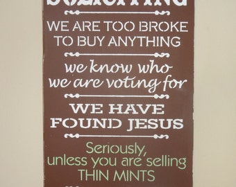 No Soliciting Unless You Are Selling Thin Mints Door House Sign Decoration