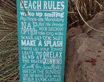 Shabby Chic Rustic Beach Rules Wooden Sign Decoration