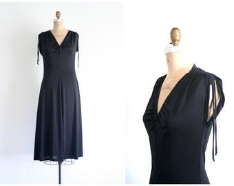 black polyester 70s dress - vintage disco dress / long black dress - witchy dress / 1970s black polyester dress - Halloween costume