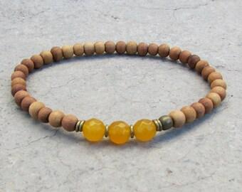 Confidence, third chakra, sandalwood and genuine yellow jade mala bracelet