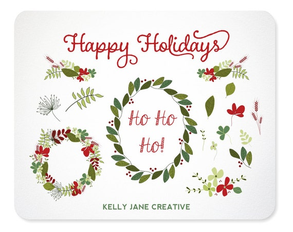 Hand Drawn Christmas Wreaths Garland And Leaves Design
