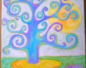 "Tree Painting, Original Painting, Dream Tree, Blue, Green, Purple, Acrylic Painting, Landscape, Home Decor,  12"" x 12"""