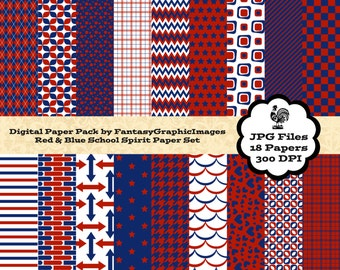 School Sports Team Spirit Digital Paper Pack - Red Blue 18 Papers - School Team Colors - Scrapbooking - Instant Download