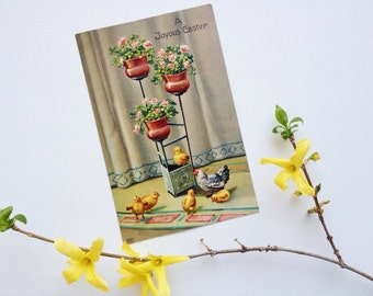 Antique Easter postcard, potted spring flowers on plant stand, hen, chickens, Victorian, EAS, E. A. Schwerdtfeger & Co., Germany, vintage