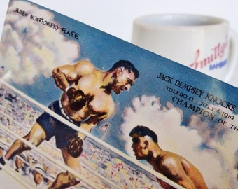 Jack Dempsey autograph, vintage signed postcard, James Montgomery Flagg boxing painting, Broadway Restaurant, New York City, signature