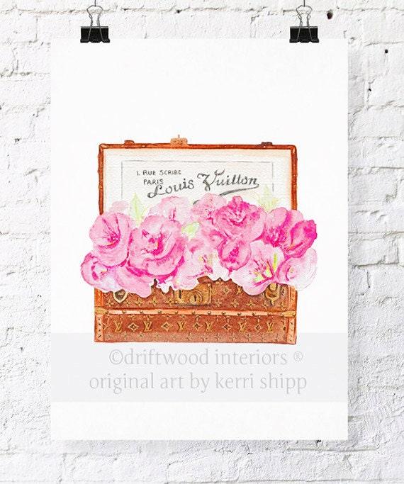 Malle Fleurs 11x14 Watercolour print - Floral Art Print - Pink Flowers in Louis Vuitton trunk