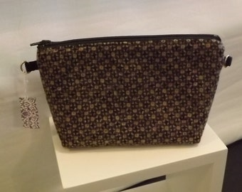 Gray, Brown and Black Wool Zip Pouch, Clutch, Cosmetic Bag