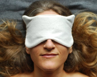 Eye Mask - Sleep Mask - Cat Mask - Natural Color - Organic Cotton Flannel - Eco Friendly